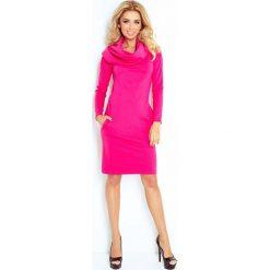 Malinowa Sukienka Dopasowana z Obfitym Golfem. Czerwone długie sukienki marki Molly.pl, l, z tkaniny, eleganckie, z golfem, z długim rękawem, dopasowane. Za 149,90 zł.