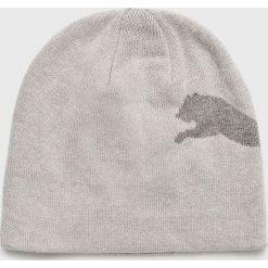 Puma - Czapka. Szare czapki zimowe męskie marki Puma, na zimę, z nadrukiem, z bawełny. Za 69,90 zł.
