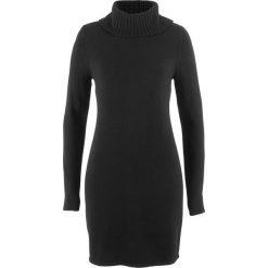 Sukienka dzianinowa z golfem, długi rękaw bonprix czarny. Czarne długie sukienki marki Molly.pl, na jesień, uniwersalny, z wełny, z golfem, dopasowane. Za 59,99 zł.