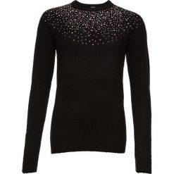 Sweter z kamieniami bonprix czarny. Czarne swetry klasyczne damskie bonprix, z okrągłym kołnierzem. Za 74,99 zł.