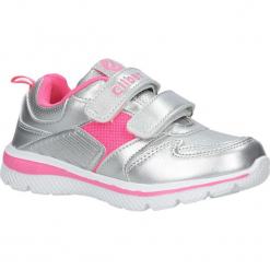 Srebrne buty sportowe na rzepy ze skórzaną wkładką Casu K-219. Szare buciki niemowlęce Casu, na rzepy. Za 69,99 zł.