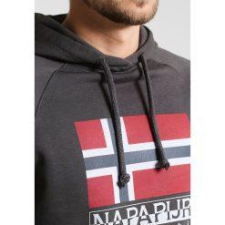Napapijri BACCHIS  Bluza z kapturem dark grey solid. Szare bluzy męskie rozpinane marki Napapijri, l, z materiału, z kapturem. W wyprzedaży za 347,65 zł.