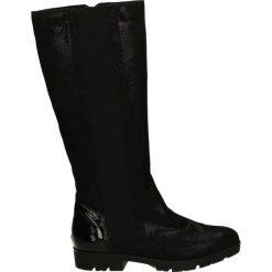 Kozaki ocieplane - 181105 605NER. Czarne buty zimowe damskie marki Kazar, ze skóry, na wysokim obcasie. Za 239,00 zł.