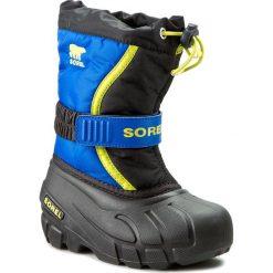 Buty zimowe chłopięce: Śniegowce SOREL – Childrens Flurry NC1885 Black/Super Blue 014