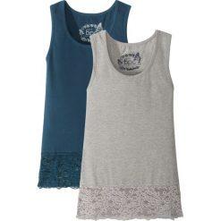 Top z koronkową wstawką (2 sztuki) bonprix ciemnoniebieski + jasnoszary melanż. Czarne bluzki dziewczęce marki bonprix, w paski, z dresówki. Za 49,98 zł.