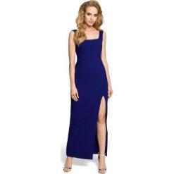 MARY Sukienka maksi z rozcięciem na boku - chabrowa. Niebieskie sukienki na komunię Moe, z dekoltem na plecach, bez rękawów. Za 179,90 zł.