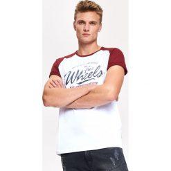 T-SHIRT MĘSKI Z KONTRASTOWYM RĘKAWEM. Szare t-shirty męskie Top Secret, na jesień, m, z bawełny, z kontrastowym kołnierzykiem. Za 24,99 zł.