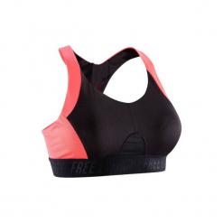 Stanik fitness kardio 500. Czarne biustonosze sportowe marki DOMYOS, z elastanu. Za 49,99 zł.