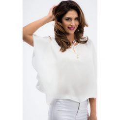 Bluzki asymetryczne: Kremowa luźna bluzka 21227