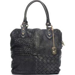 Torebki klasyczne damskie: Skórzana torebka w kolorze czarnym - 32 x 33 x 15 cm