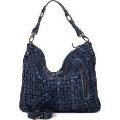 Torebki klasyczne damskie: Skórzana torebka w kolorze niebieskim – 35 x 32 x 9 cm