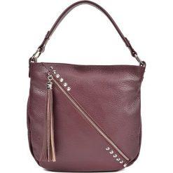 Torebka w kolorze bordowym - (S)34,5 x (W)31 x (G)8 cm. Brązowe torebki klasyczne damskie Bestsellers bags, w paski, z materiału. W wyprzedaży za 259,95 zł.