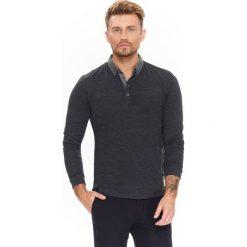 Koszule męskie na spinki: KOSZULA MĘSKA Z DZIANINY Z KONTRASTOWYM KOŁNIERZEM