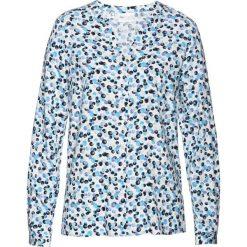 Bluzki damskie: Bluzka z nadrukiem bonprix ciemnoniebiesko-miętowo-biały z nadrukiem