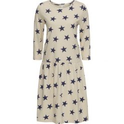 Sukienka shirtowa w gwiazdy bonprix beżowo-niebieski. Brązowe sukienki z falbanami bonprix. Za 37,99 zł.