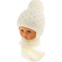 Czapka dziecięca z szalikiem CZ+S 129D. Białe czapeczki niemowlęce Proman. Za 42,82 zł.