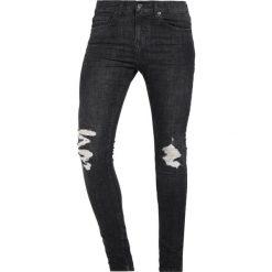 Topman COHEN SPRAY ON WITH RIPS Jeans Skinny Fit black. Czarne jeansy męskie Topman. Za 229,00 zł.
