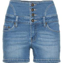 Szorty dżinsowe z wysoką talią bonprix niebieski bleached. Niebieskie szorty jeansowe damskie marki bonprix. Za 89,99 zł.