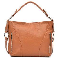 Torebki i plecaki damskie: Skórzana torebka w kolorze jasnobrązowym – (S)25 x (W)32 x (G)8,5 cm