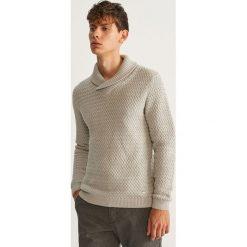 Sweter z kołnierzem - Jasny szar. Niebieskie swetry klasyczne męskie marki Reserved. Za 159,99 zł.