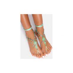Bransoletki damskie: Zielona bransoletka na stopę Dreamcatcher