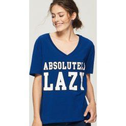T-shirt z nadrukiem - Niebieski. Niebieskie t-shirty damskie Sinsay, l, z nadrukiem. W wyprzedaży za 14,99 zł.