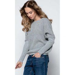 Swetry klasyczne damskie: Szary Sweter z Dekoltem V na Plecach