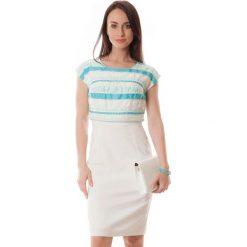 Sukienki hiszpanki: Sukienka w kolorze jasnoniebiesko-ecru