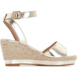 Rzymianki damskie: Sandały na koturnie, metaliczny połysk, szeroka stopa 38-45