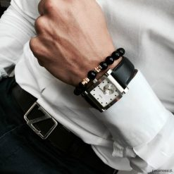 Bransoletka męska BLACK POWER. Czarne bransoletki męskie Pakamera, z kryształem, złote. Za 219,00 zł.