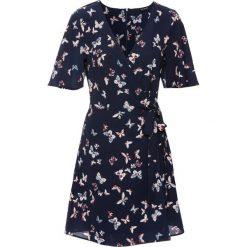 Sukienki: Sukienka z założeniem kopertowym bonprix ciemnoniebieski z nadrukiem