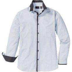 Koszula Regular Fit bonprix jasnoszary w paski. Szare koszule męskie na spinki bonprix, m, w paski, z kontrastowym kołnierzykiem. Za 109,99 zł.