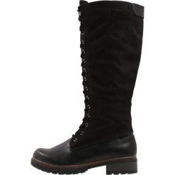 Tamaris Kozaki sznurowane black. Czarne buty zimowe damskie Tamaris, z materiału. W wyprzedaży za 254,25 zł.