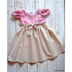 Sukienka Lniana różowa z rękawkami Projekt ASz. Czerwone sukienki dziewczęce marki Pakamera. Za 120,00 zł.
