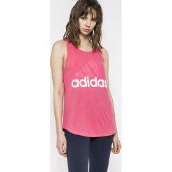 Adidas Performance - Top. Różowe topy sportowe damskie marki adidas Performance, l, z nadrukiem, z bawełny, bez rękawów. Za 99,90 zł.