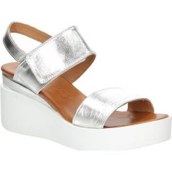 Sandały skórzane na koturnie Casu PAMELA03. Szare sandały damskie Casu, na koturnie. Za 129,99 zł.
