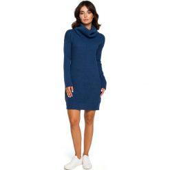 Niebieski Długi Sweter- Sukienka z Szerokim Golfem. Niebieskie długie sukienki marki Molly.pl, uniwersalny, ze splotem, eleganckie, z golfem, z długim rękawem, proste. Za 115,90 zł.