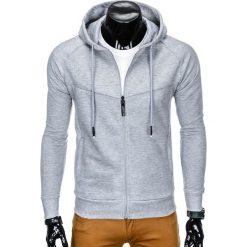 Bluzy męskie: BLUZA MĘSKA ROZPINANA Z KAPTUREM B795 - SZARA