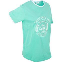 T-shirt bawełniany, krótki rękaw bonprix mentolowy niebieski. Niebieskie t-shirty damskie bonprix, z bawełny, z okrągłym kołnierzem. Za 34,99 zł.