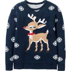 Swetry dziewczęce: Sweter bożonarodzeniowy z motywem renifera bonprix ciemnoniebieski