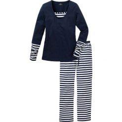 Piżamy damskie: Piżama bonprix biało-ciemnoniebieski w paski