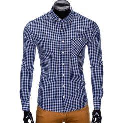 KOSZULA MĘSKA W KRATĘ Z DŁUGIM RĘKAWEM K427 - GRANATOWA/BEŻOWA. Brązowe koszule męskie na spinki marki Ombre Clothing, m, z aplikacjami, z kontrastowym kołnierzykiem, z długim rękawem. Za 39,99 zł.