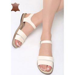 Beżowe Skórzane Sandały Almond. Brązowe sandały damskie marki Born2be, z materiału, na obcasie. Za 99,99 zł.