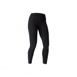 Legginsy slim Gym & Pilates FIT+ 500 damskie. Czarne legginsy sportowe damskie marki DOMYOS, l, z bawełny. Za 39,99 zł.