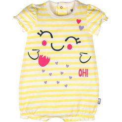 Śpiochy niemowlęce: Rampers w kolorze żółto-białym