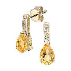 Kolczyki damskie: Złote kolczyki-wkrętki z diamentami i cytrynem