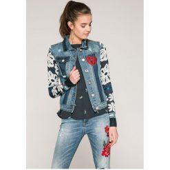 Desigual - Kurtka. Szare kurtki damskie jeansowe marki Desigual, l, casualowe, z długim rękawem. Za 499,90 zł.