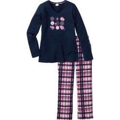 Piżamy damskie: Piżama bonprix ciemnoniebieski z nadrukiem