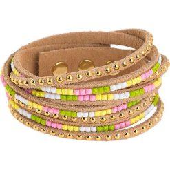 Bransoletki damskie: Skórzana bransoletka w kolorze jasnobrązowym z kryształkami i perełkami Swarovski