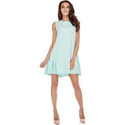 Sukienki: Niebieska Wyjściowa Trapezowa Sukienka z Falbanką